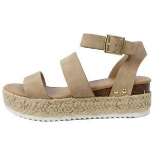 Shoes - Taupe Open Toe Strappy Ankle Strap Espadrille Wedg